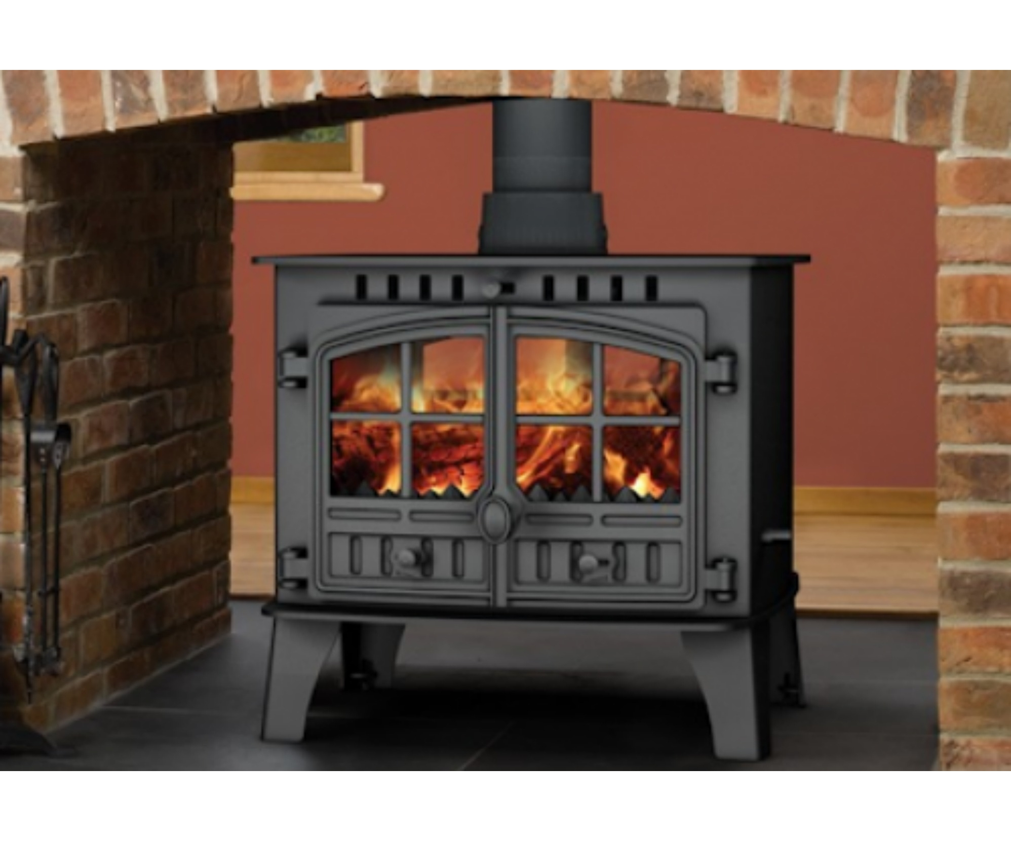 Hunter Herald 14 Double Sided Multifuel Woodburning Stove