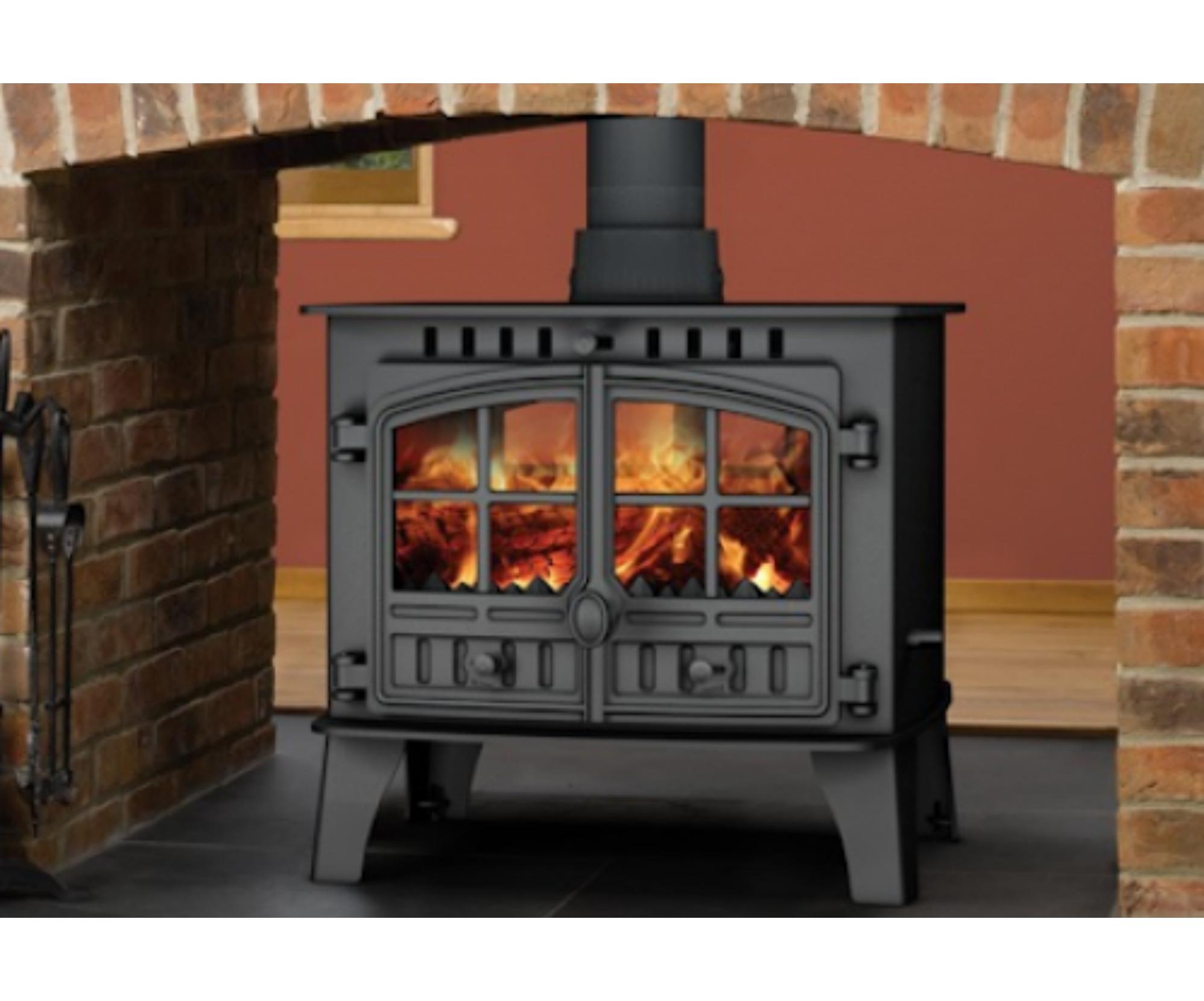 Hunter Herald 14 Double Sided Multifuel Woodburning Stove