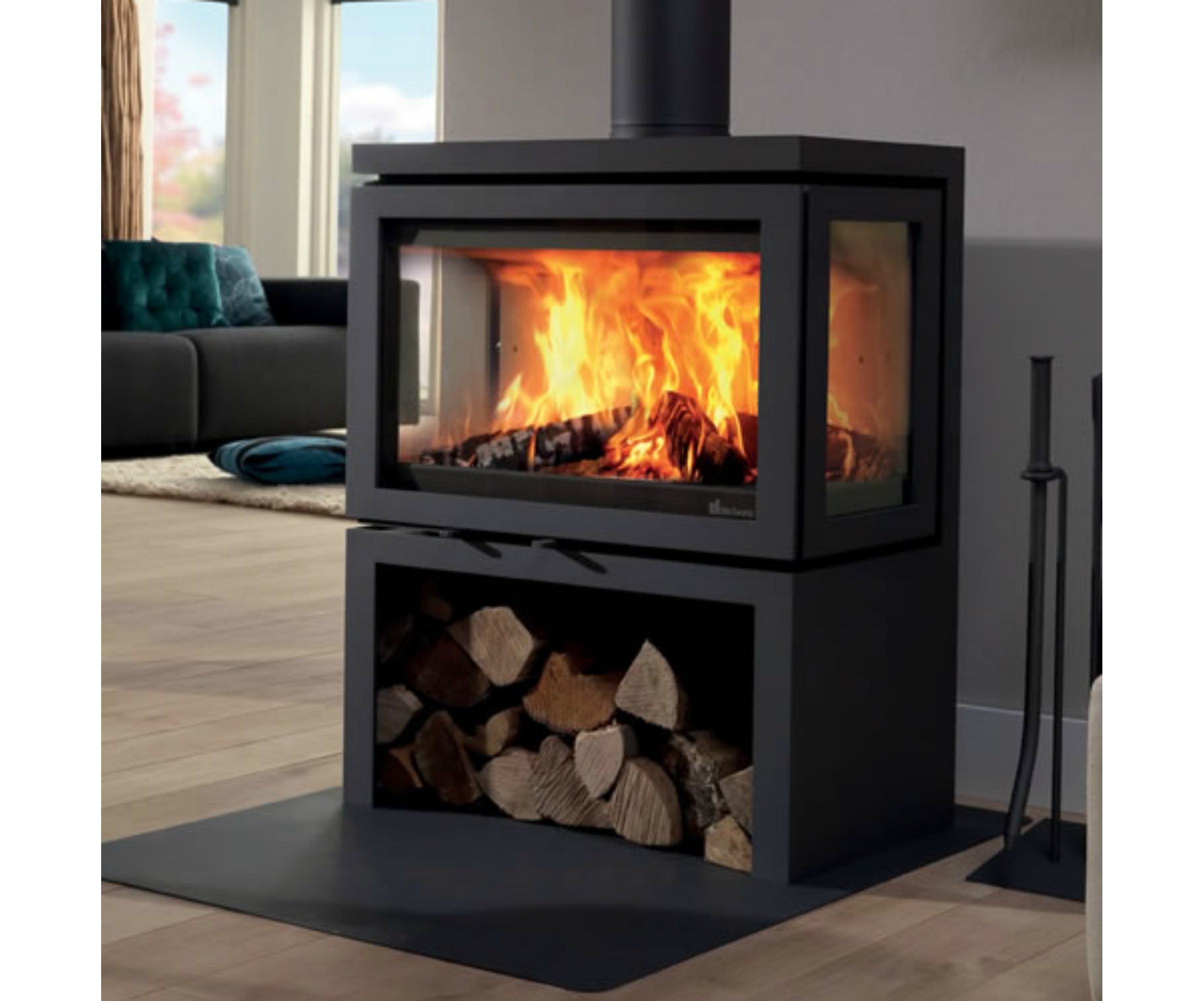 Fonte flamme vidar triple po le bois contemporain for Poele a bois contemporain