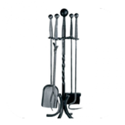 Wood Burning Accessories Companion Set, Wrought Iron - 4 piece ball top