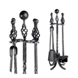 Wood Burning Accessories Companion Set, Wrought Iron - 4 piece ball and twist top