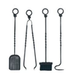 Wood Burning Accessories Companion Set, Wrought Iron - 4 piece ring top set