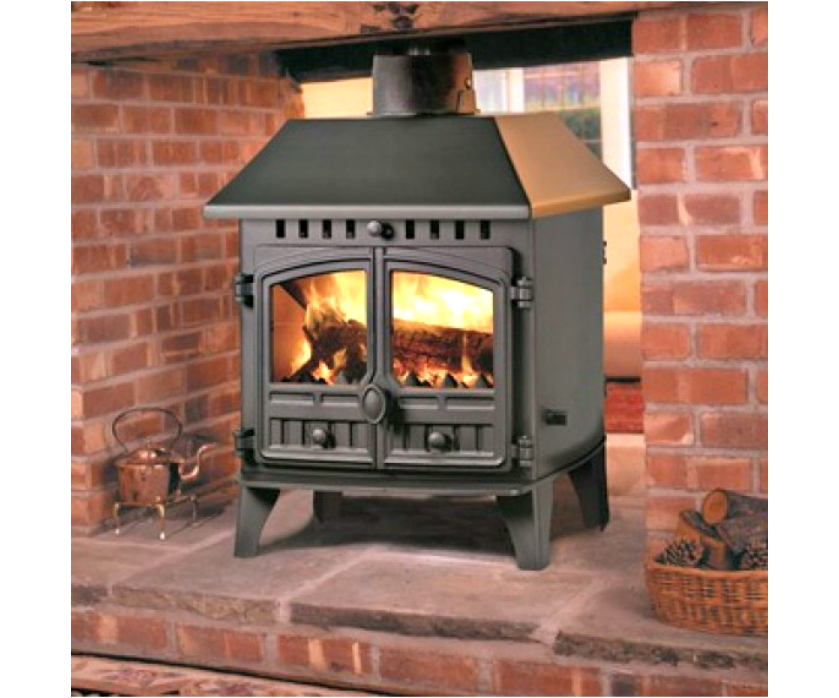 Hunter herald 14 double sided multifuel woodburning stove for Poele bois double combustion
