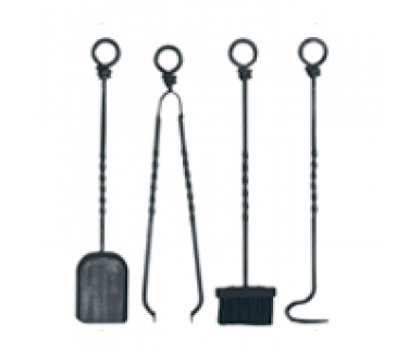 Companion Set, Wrought Iron - 4 piece ring top set